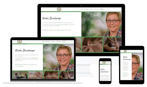 Re-design af hjemmesiden Krebszoneterapi.dk - lavet af WEBstationen